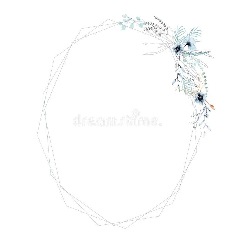 Pagina dei wildflowers con le foglie in un mazzo Isolato su priorit? bassa bianca illustrazione vettoriale