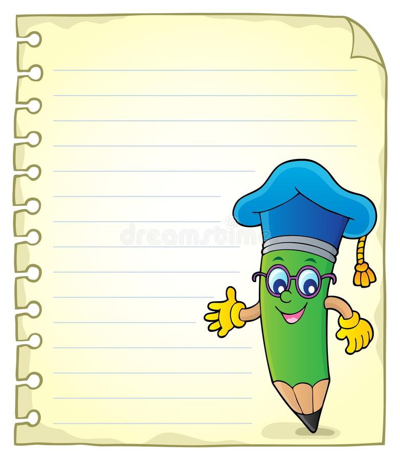 Pagina del blocco note con l'insegnante della matita royalty illustrazione gratis