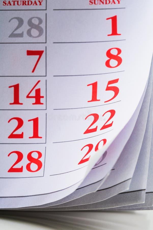 Pagina del calendario, pagina del calendario fotografia stock libera da diritti