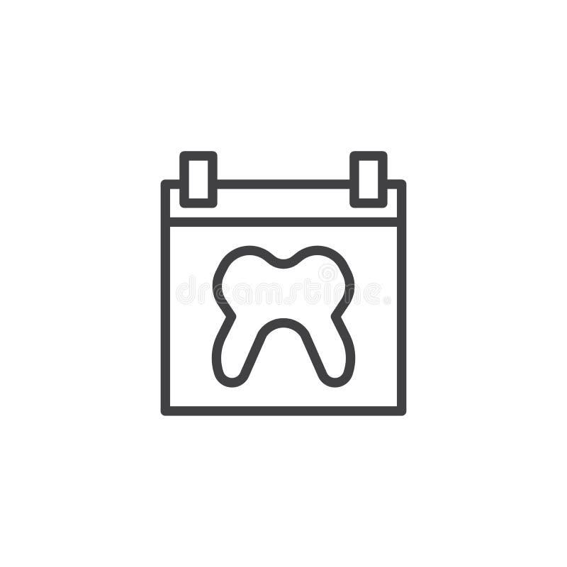 Pagina del calendario con la linea umana icona del dente illustrazione di stock
