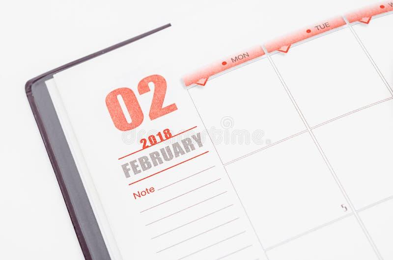 Pagina del calendario di febbraio immagine stock libera da diritti