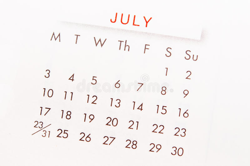 Pagina del calendario di luglio immagine stock