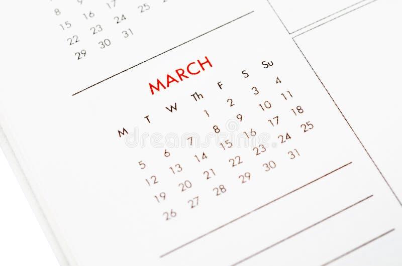Pagina del calendario di marzo fotografia stock