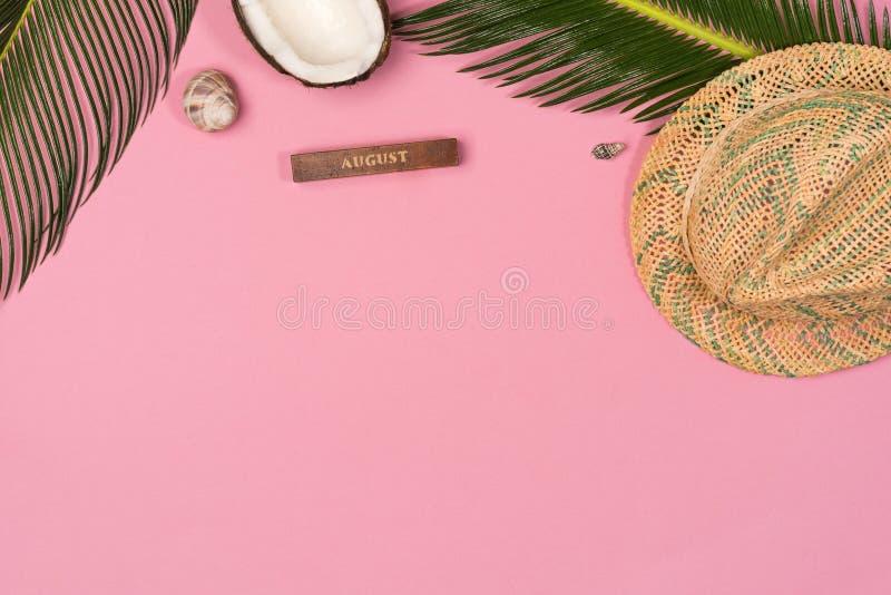 Pagina del cappello di paglia, noce di cocco, conchiglie Accessori del viaggiatore su fondo rosa immagini stock libere da diritti