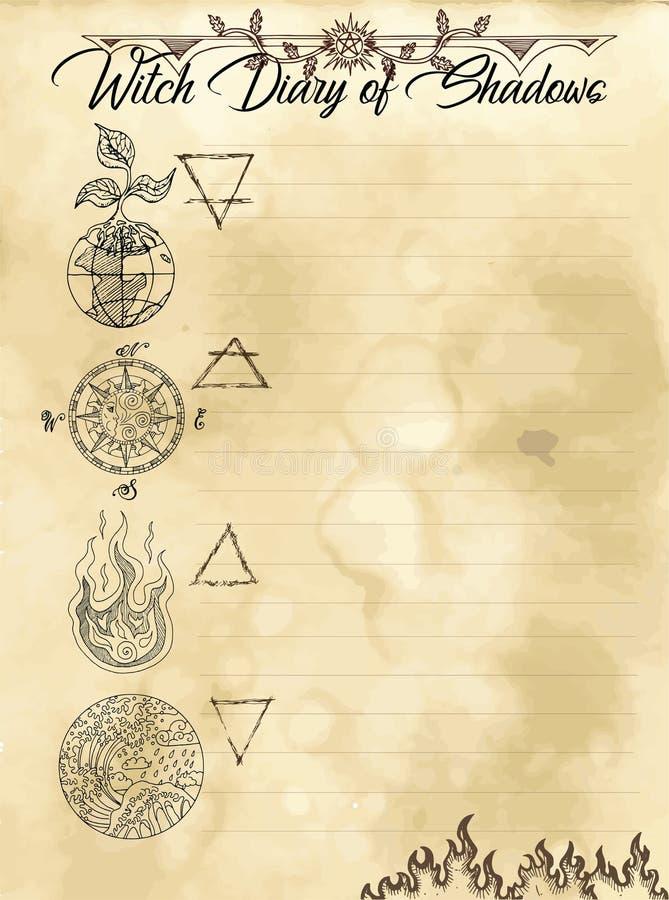 Pagina 20 del diario della strega di 31 illustrazione vettoriale