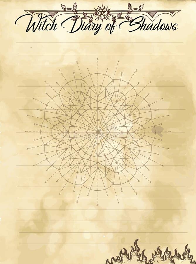 Pagina 24 del diario della strega di 31 illustrazione vettoriale