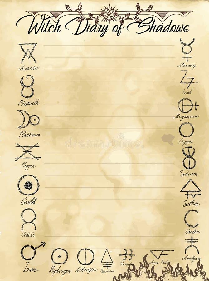 Pagina 27 del diario della strega di 31 illustrazione di stock