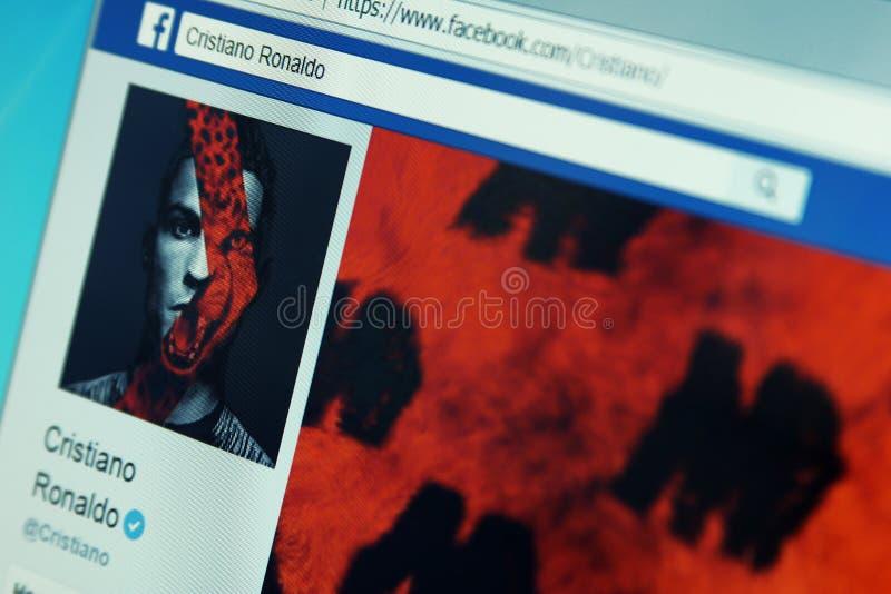 Pagina del facebook di Cristiano Ronaldo fotografia stock libera da diritti