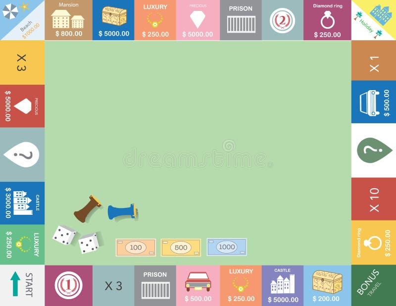 Pagina del gioco da tavolo, struttura divertente, giochi da tavolo, illustrazioni di vettore illustrazione di stock