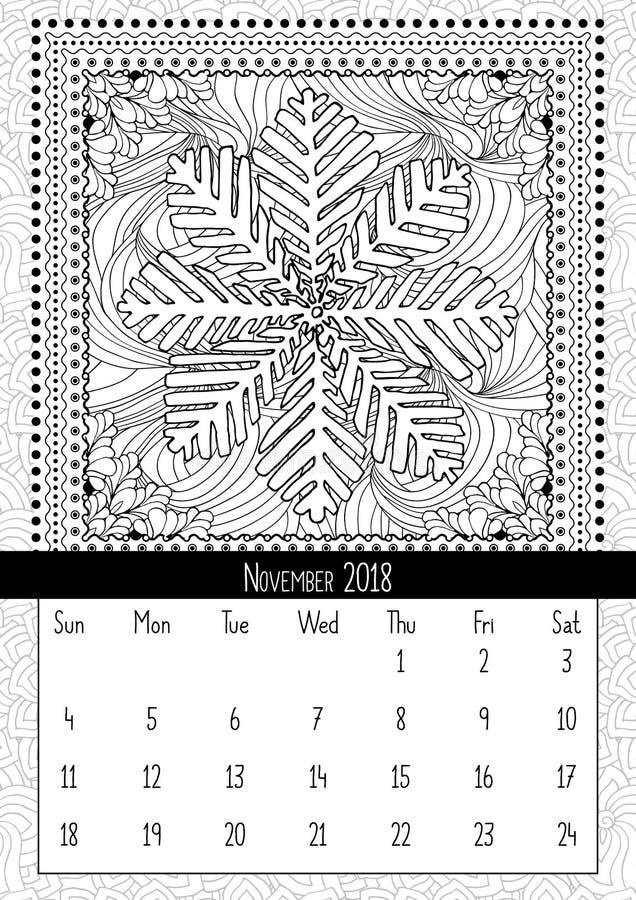 Pagina del libro da colorare del fiocco di neve, calendario novembre 2018 illustrazione di stock