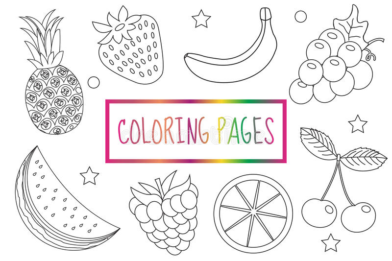 Pagina del libro da colorare Insieme della frutta Schizzo, scarabocchio, stile del profilo coloritura per i bambini L'istruzione  illustrazione di stock