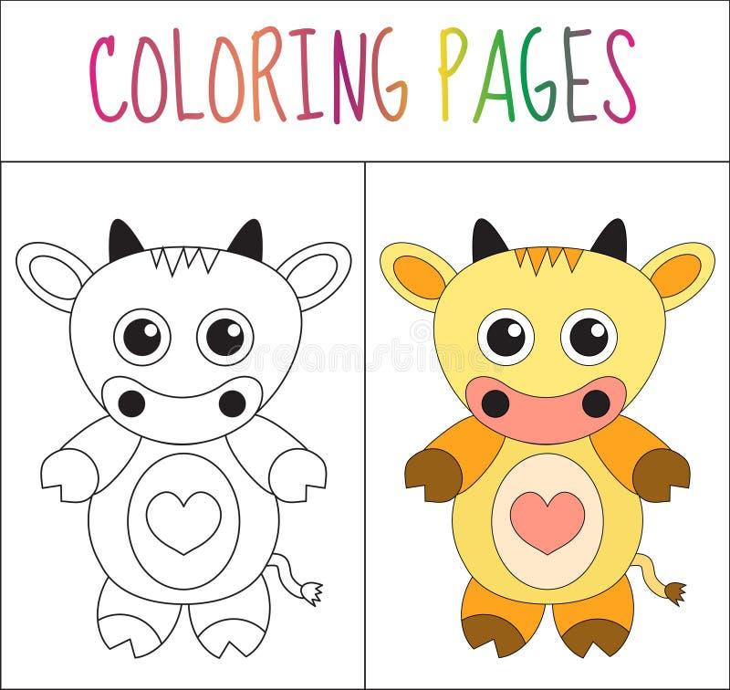 Pagina del libro da colorare mucca Versione di colore e di schizzo coloritura per i bambini Illustrazione di vettore illustrazione di stock