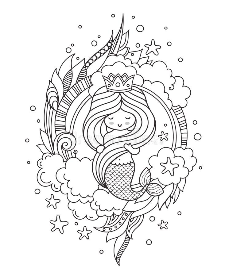 Pagina del libro da colorare per gli adulti Piccola bella sirena, tenente i suoi capelli lunghi illustrazione vettoriale
