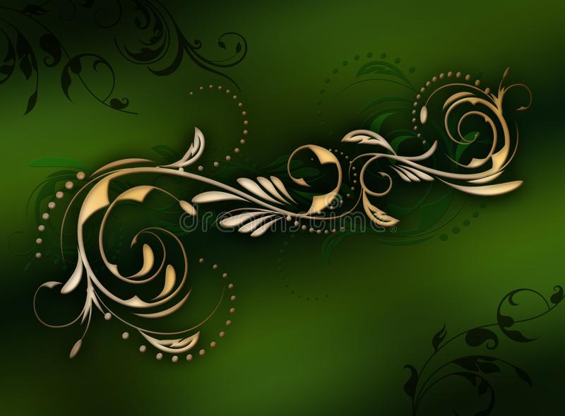 Pagina del modello floreale dell'oro brillante illustrazione vettoriale
