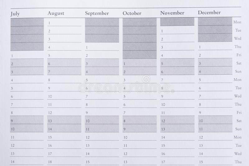 Pagina del pianificatore di anno in diario fotografie stock