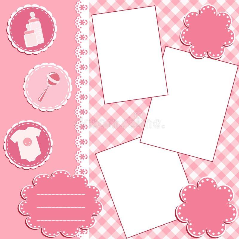 Pagina dell'album del bambino. Colore rosa. royalty illustrazione gratis