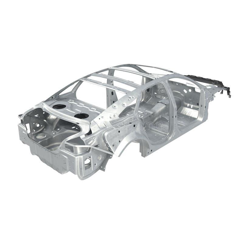 Pagina dell'automobile senza telaio su bianco Angolo da su illustrazione 3D fotografia stock libera da diritti