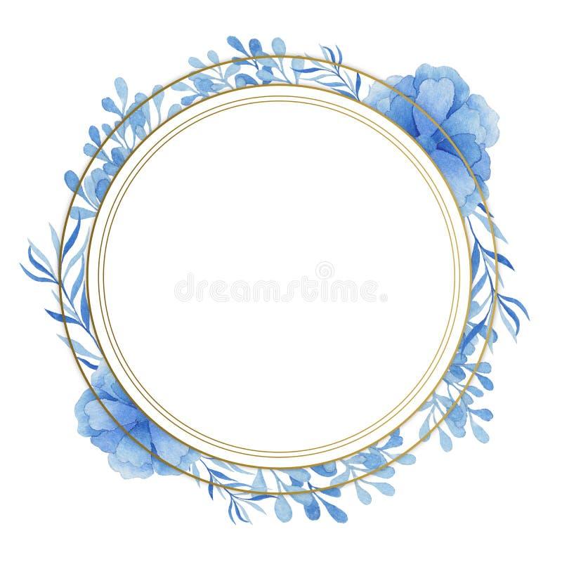 Pagina dell'oro con i colori blu dell'acquerello Adatto ad inviti di nozze, a cartoline e ad altri progetti royalty illustrazione gratis
