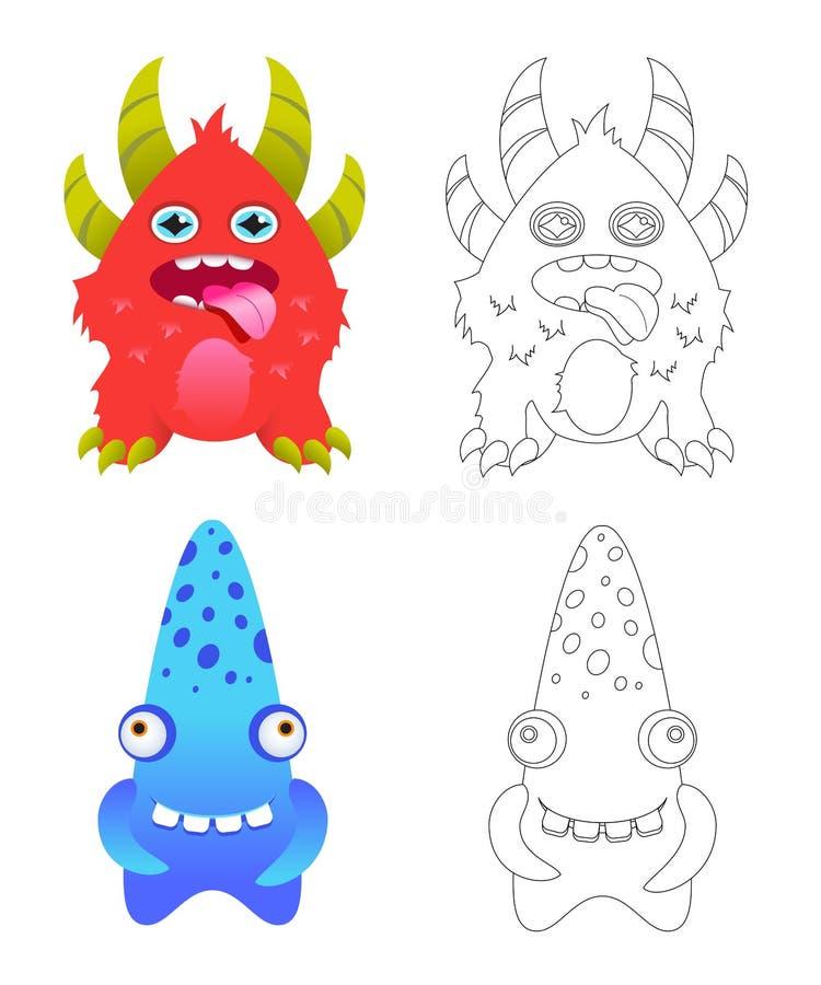Pagina della coloritura dei bambini con i mostri divertenti del fumetto royalty illustrazione gratis