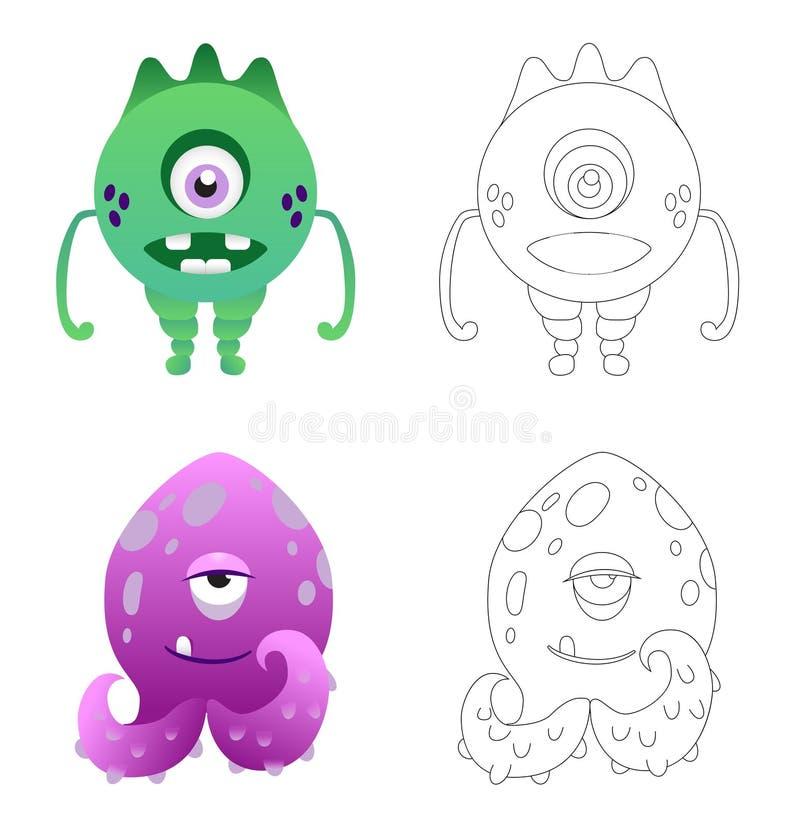 Pagina della coloritura dei bambini con i mostri divertenti del fumetto illustrazione di stock
