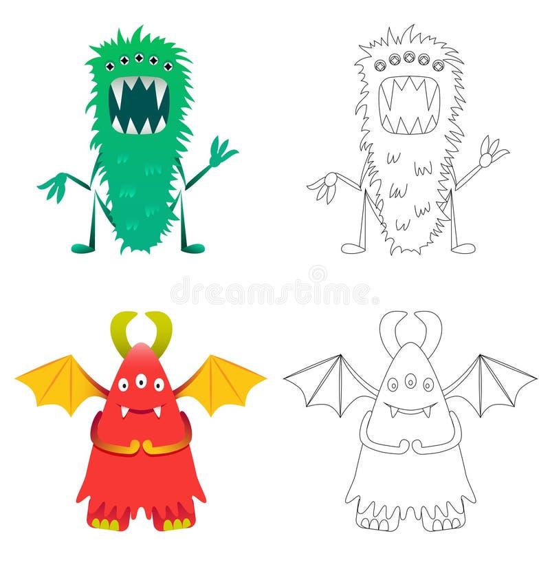 Pagina della coloritura dei bambini con i mostri divertenti del fumetto illustrazione vettoriale
