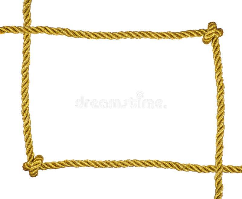 Pagina della corda dorata isolata fotografia stock