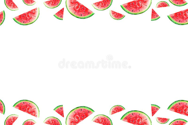 Pagina delle fette dell'anguria in acquerello isolato illustrazione vettoriale