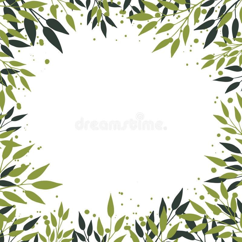 Pagina delle foglie con gli splaches illustrazione di stock