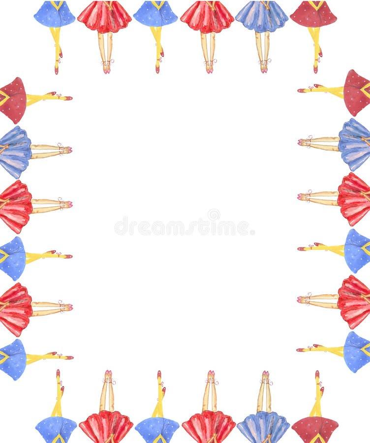 Pagina delle gambe della ragazza in gonne fertili su un fondo bianco isolato illustrazione di stock