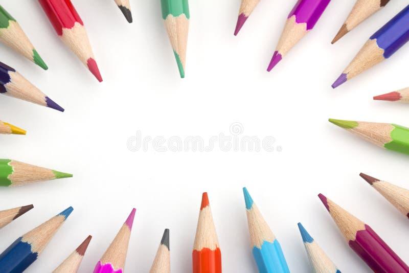 Pagina delle matite colorate fotografia stock