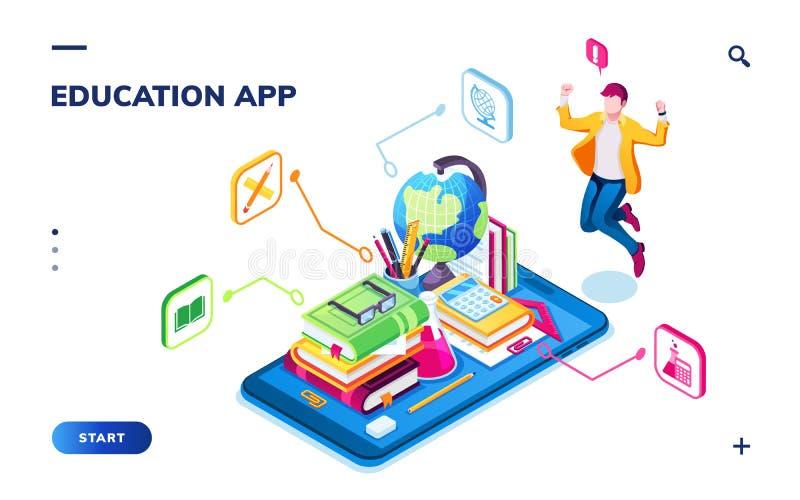 Pagina di applicazione online isometrica di istruzione illustrazione vettoriale