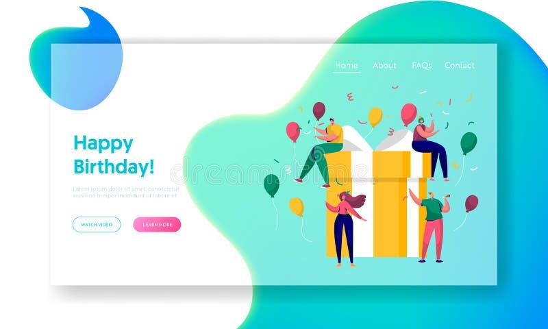 Pagina di atterraggio di celebrazione del partito di buon compleanno Progettazione del regalo per l'evento di sorpresa di Natale  illustrazione di stock