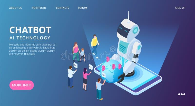 Pagina di atterraggio di Chatbot Insegna di web di vettore di intelligenza artificiale Robot isometrico di AI con la gente e la t illustrazione vettoriale