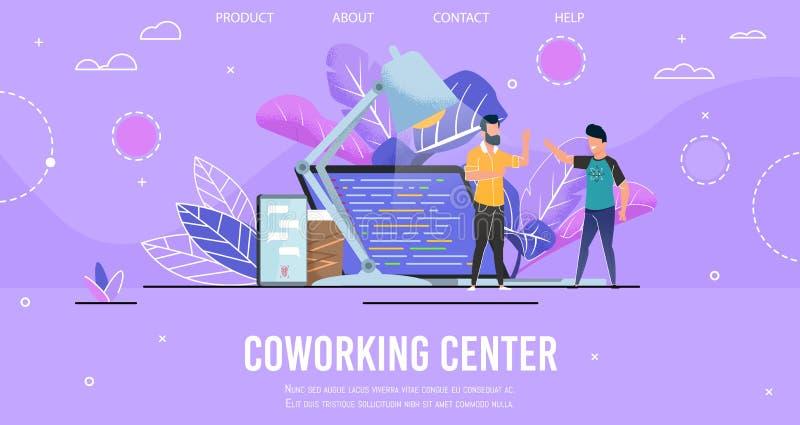 Pagina di atterraggio che presenta il centro moderno di Coworking illustrazione di stock