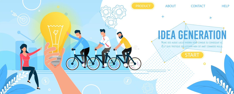 Pagina di atterraggio del gruppo di affari e della generazione di idea royalty illustrazione gratis