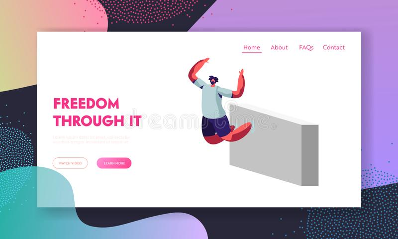 Pagina di atterraggio del sito Web di Parkour, giovane che salta sopra le pareti, attività urbana di sport, stile di vita, corrid illustrazione di stock