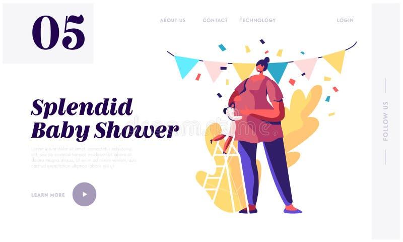 Pagina di atterraggio del sito Web del partito di doccia del bambino, supporto del carattere della ragazza sulla scala che abbrac illustrazione vettoriale