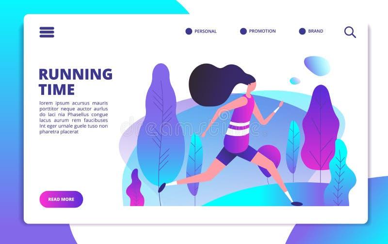 Pagina di atterraggio di forma fisica Ragazza sportiva che corre nel parco di estate Allenamento sano della gente all'aperto Stil illustrazione di stock