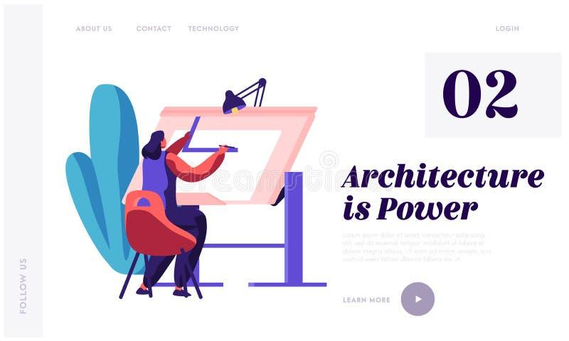 Pagina di atterraggio di progetto Woman Working Construction dell'ingegnere Architetto Person Drawing Draft Schizzo di ingegneria illustrazione di stock