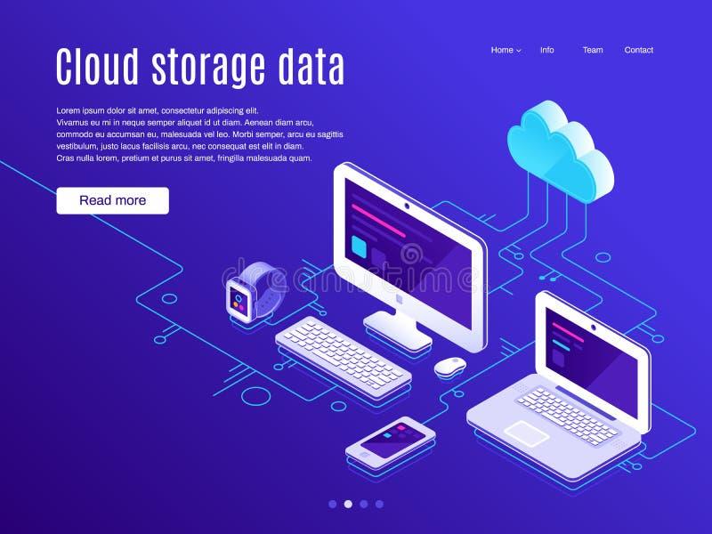 Pagina di atterraggio di stoccaggio della nuvola Gli stoccaggi delle nuvole di sincronizzazione ed i dispositivi, backup dei dati illustrazione vettoriale