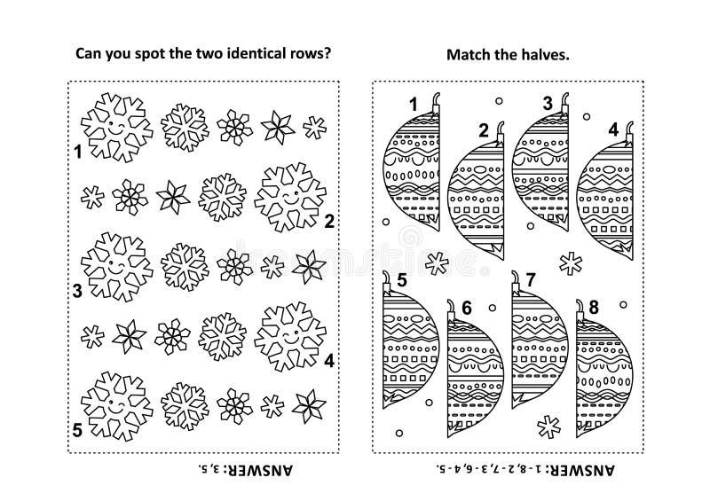 Pagina di attività per i bambini con i puzzle e la coloritura - file dei fiocchi di neve, metà degli ornamenti royalty illustrazione gratis