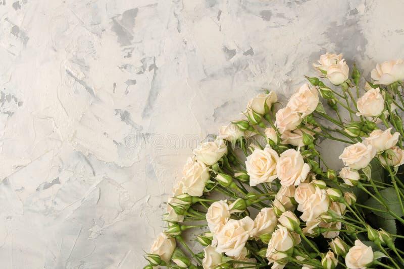 Pagina di belle mini rose su un fondo del cemento leggero Bei fiori feste Vista da sopra immagine stock libera da diritti