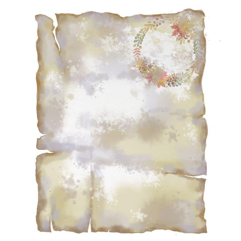 Pagina di carta Antiqued con la corona autunnale royalty illustrazione gratis