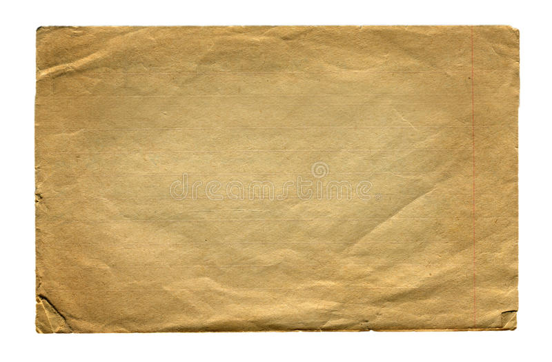 Pagina di carta d'annata isolata fotografie stock libere da diritti