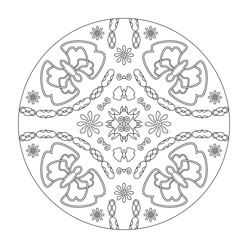Pagina di colorazione Mandala Butterflies mandala con fiori, illustrazione vettoriale in bianco e nero Art Therapy Elementi decor immagini stock