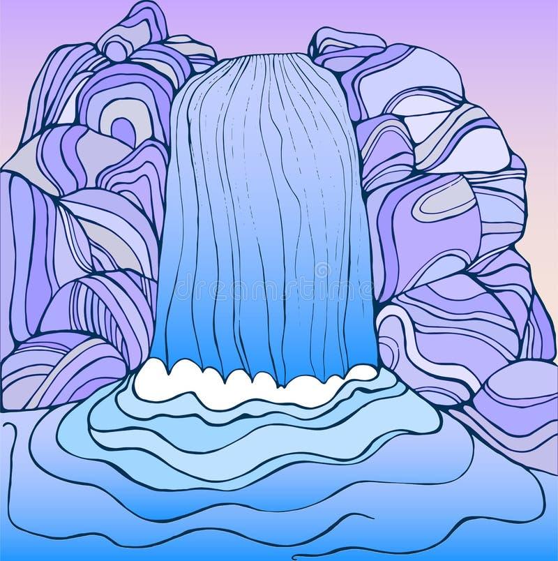 Pagina di colore della cascata di fantasia illustrazione vettoriale