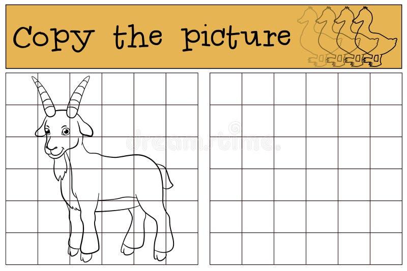 Pagina di coloritura Colorimi: capra Piccola capra sveglia del bambino illustrazione di stock