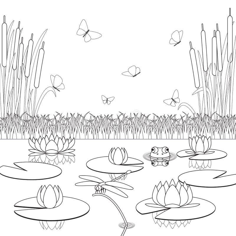 Pagina di coloritura con gli abitanti e le piante dello for Gli animali dello stagno
