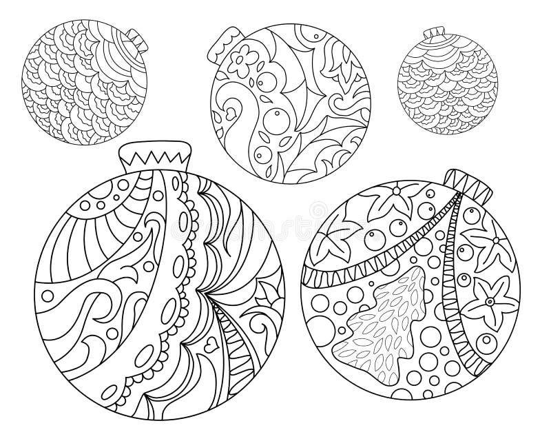 Pagina di coloritura con gli ornamenti dell'albero di Natale Pagina adulta di coloritura dell'ornamento dell'albero di abete di N illustrazione vettoriale