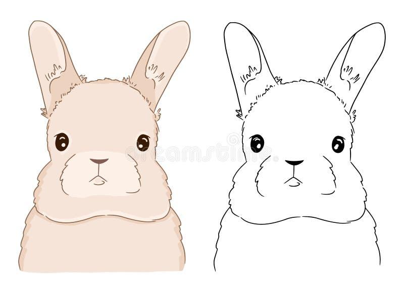 Pagina di coloritura con il fronte del coniglio per i bambini Illustrazione di vettore del coniglietto sveglio su fondo bianco royalty illustrazione gratis